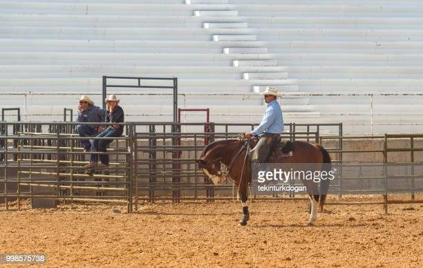 cowboy getting prepared for rodeo at