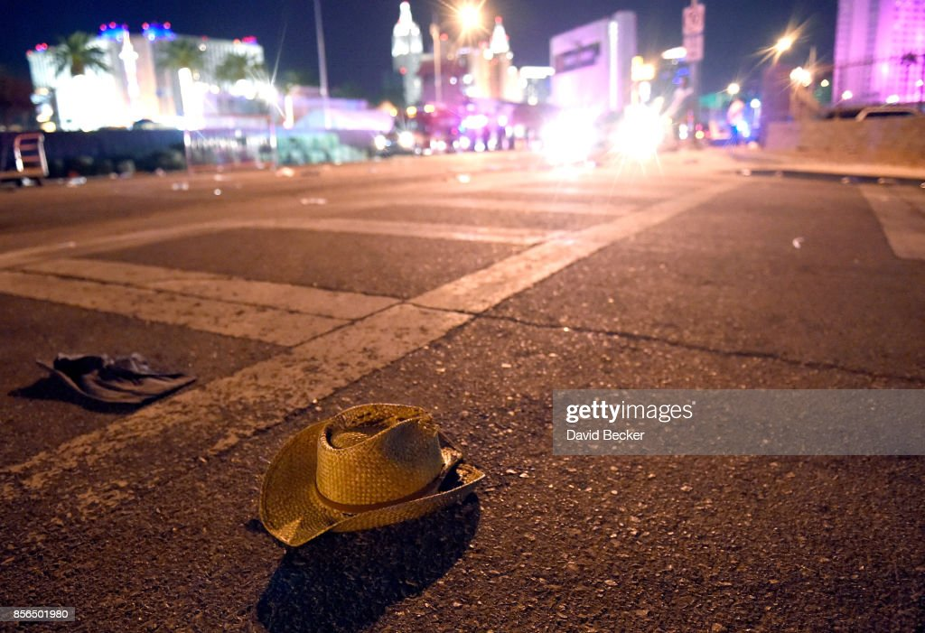 A cowboy hat lays in the street after shots were fired near a country music festival on October 1, 2017 in Las Vegas, Nevada. There are reports of an active shooter around the Mandalay Bay Resort and Casino.