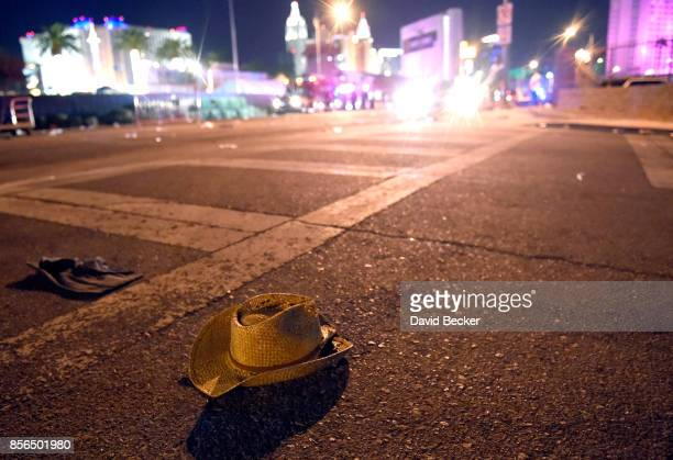 A cowboy hat lays in the street after shots were fired near a country music festival on October 1 2017 in Las Vegas Nevada There are reports of an...