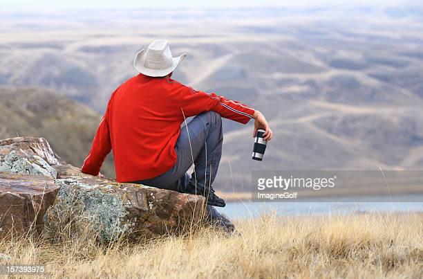 Cowboy Having a Coffee Break on the Ranch in Alberta