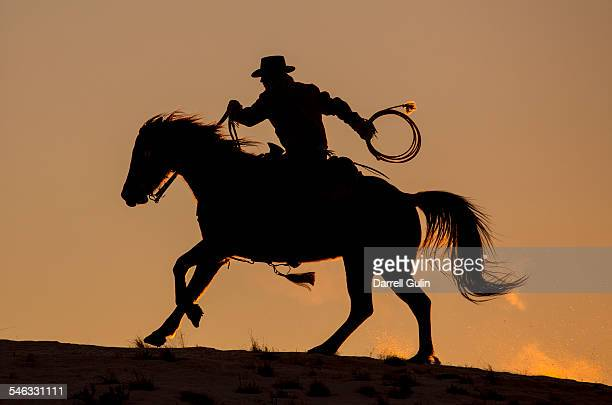 cowboy & horse sunset silhouette - wild west stock pictures, royalty-free photos & images