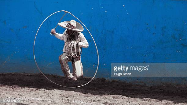 cowboy jumping through lasso - hugh sitton stockfoto's en -beelden