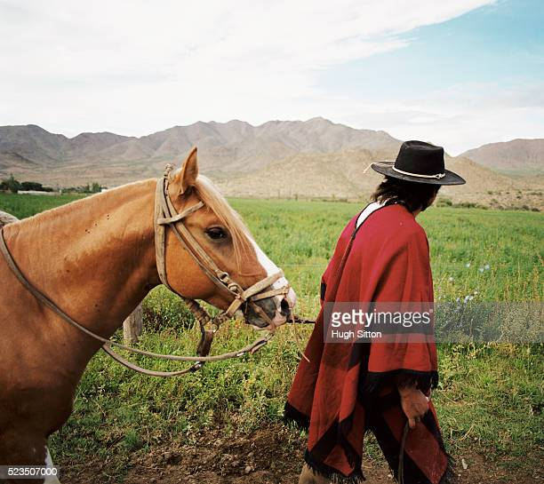 cowboy leading horse, cachi, salta, argentina - argentina traditional clothing stock photos and pictures