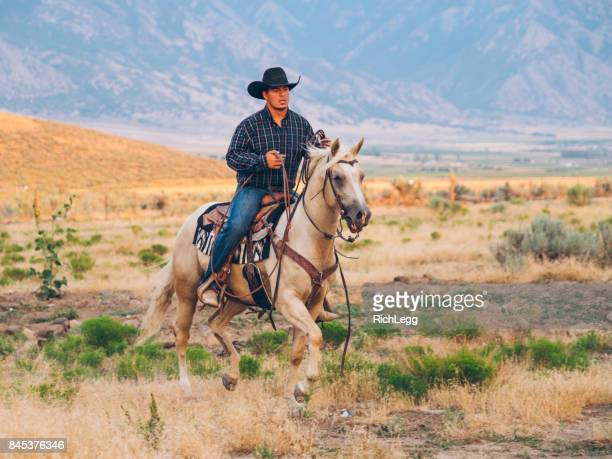 cowboy lifestyle in utah - cowboy stock photos and pictures