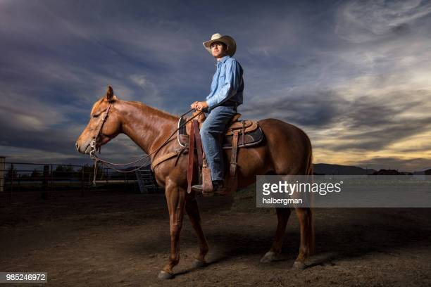 Cowboy Looking into Distance at Sunset