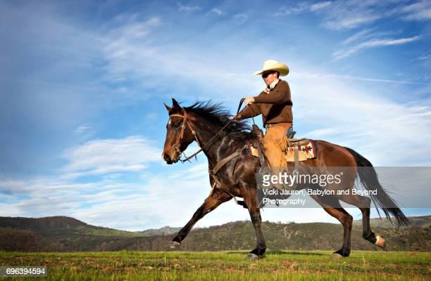 Cowboy on Horse Against Blue Sky