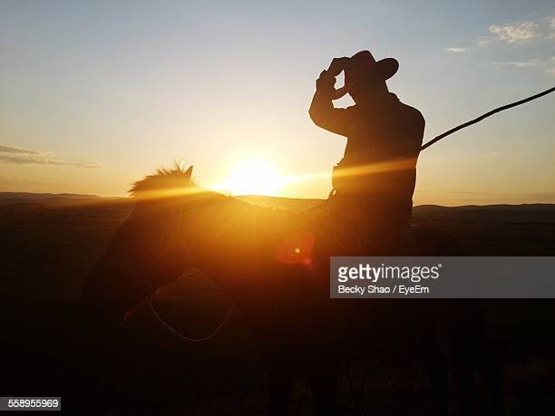 Cowboy On Horse At Sunset