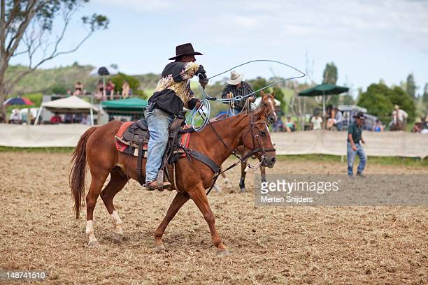cowboy on horse with lasso at far north rodeo. - merten snijders stock-fotos und bilder