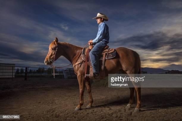 Cowboy on Horseback in Profile
