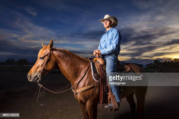 Cowboy on Horseback with Suspicious Expression