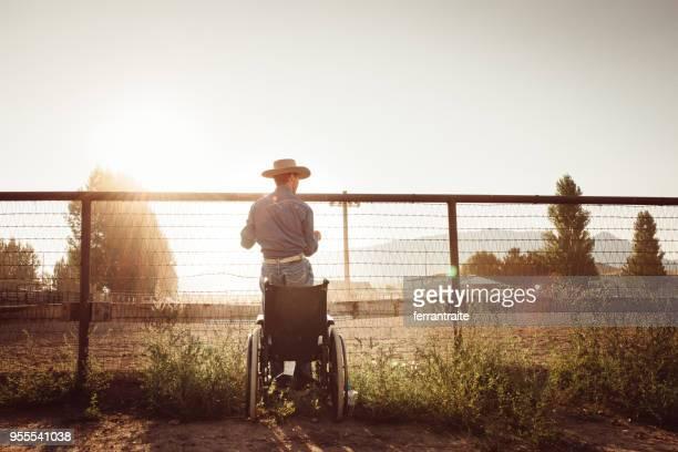 cowboy de cadeira de rodas pela arena de rodeio - estadio de los cowboys - fotografias e filmes do acervo