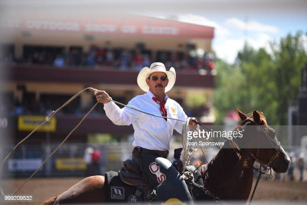 A cowboy prepares to lasso a bull at the Calgary Stampede on July 14 2018 at Stampede Park in Calgary AB