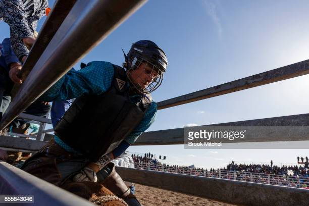 A cowboy prepares to ride during the Deni Rodeo at the 2017 Deni Ute Muster on September 30 2017 in Deniliquin Australia The annual Deniliquin Ute...