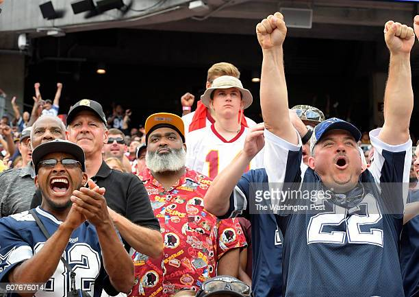 Cowboy react as do Redskins fans in the back to the Redskins failing to make a 4th and one in the last 2 minutes of the game during the Dallas...