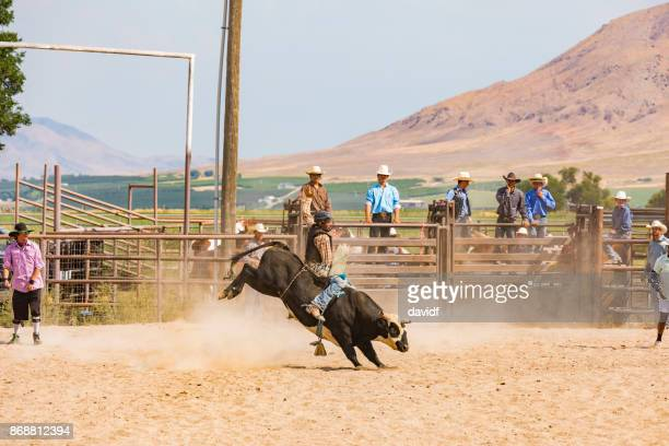 Cowboy Riding a Bull at a Rodeo