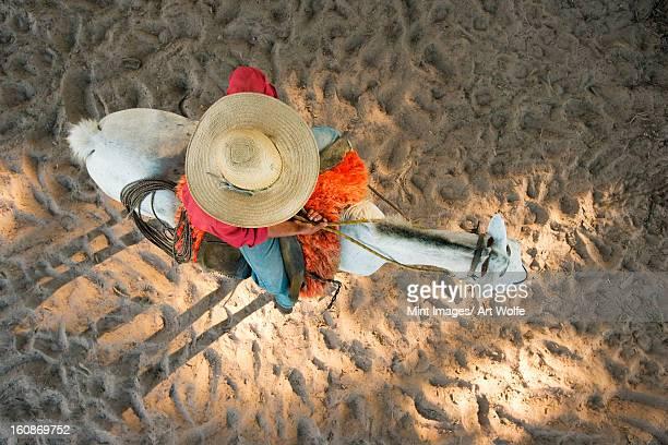 a cowboy riding a horse, fazenda rio negro, pantanal, brazil - pantanal wetlands stock photos and pictures