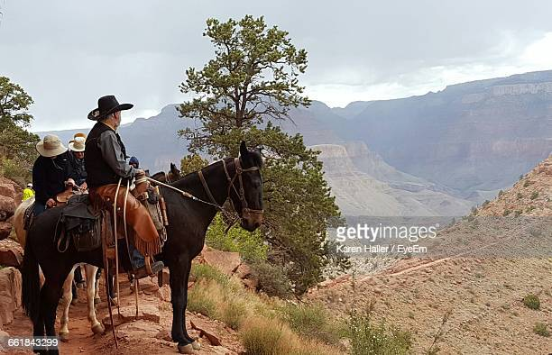 cowboy riding horse - canyon foto e immagini stock