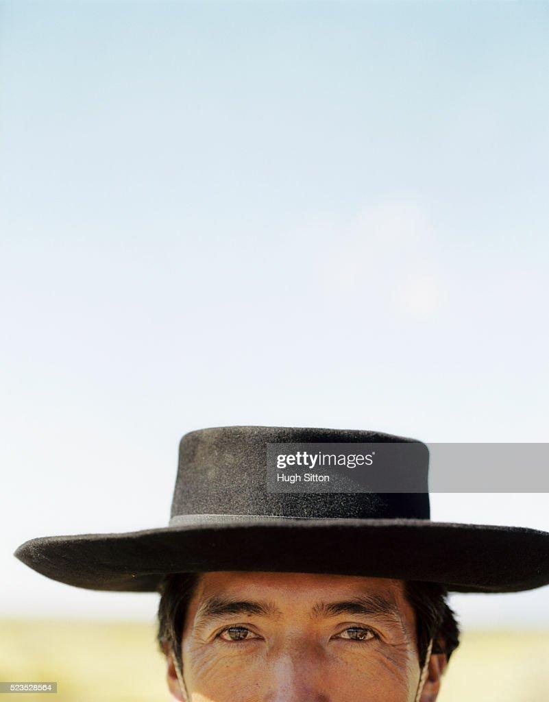 Cowboy smiling into camera, Cafayete, Salta, Argentina : Stock Photo