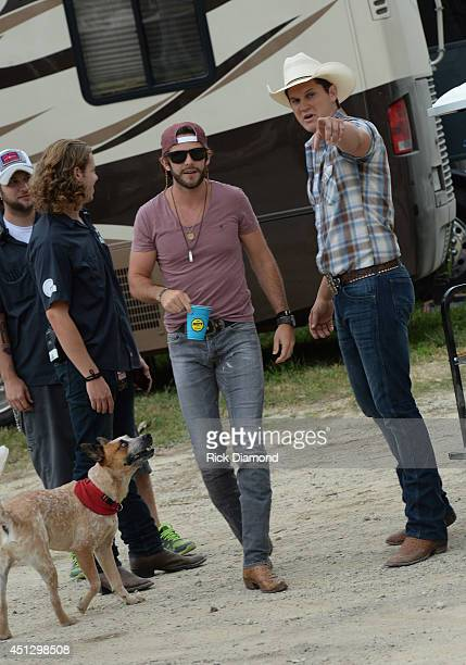 Cowboy Thomas Rhett and Jon Pardi backstage during 'Kicker Country Stampede' Day 1 at Tuttle Creek State Park on June 26 2014 in Manhattan Kansas