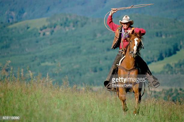Cowboy Throwing Lasso from Horse