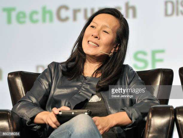 Cowboy Ventures Founder Aileen Lee judges the Startup Battlefield finals during TechCrunch Disrupt SF 2017 at Pier 48 on September 20 2017 in San...