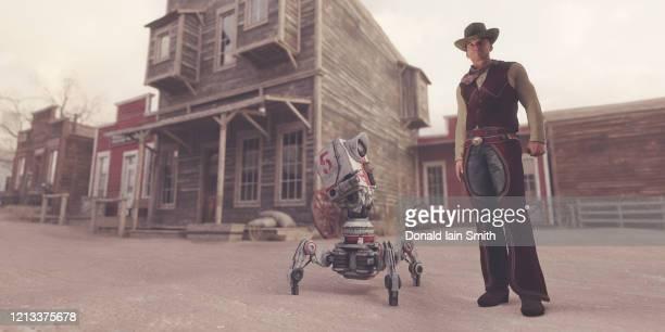 cowboy with robot in western town - ウエスタン映画 ストックフォトと画像