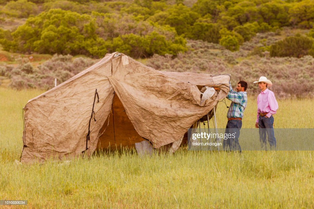 cowboys building rural tent at santaquin valley of Salt lake City SLC Utah USA  Stock & Cowboys Building Rural Tent At Santaquin Valley Of Salt Lake City ...