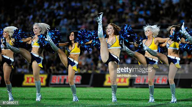 Cowboys cheerleaders perform before the round two NRL match between the North Queensland Cowboys and the Wests Tigers at Dairy Farmers Stadium on...