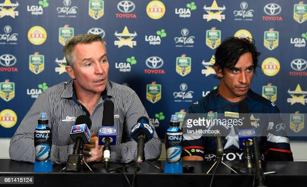 Cowboys coach Paul Green and Johnathan Thurston of the Cowboys look on at the post match media conference at the end of during the round five NRL...