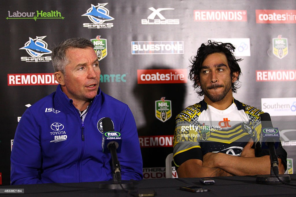 Cowboys coach Paul Green and Johnathan Thurston of the Cowboys talk to the media at a press conference following the round 22 NRL match between the Cronulla Sharks and the North Queensland Cowboys at Remondis Stadium on August 8, 2015 in Sydney, Australia.
