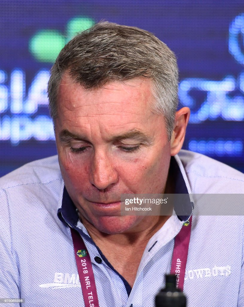 Cowboys Coach Paul Green looks on at the at the post match media conference at the end of the round 15 NRL match between the North Queensland Cowboys and the New Zealand Warriors at 1300SMILES Stadium on June 15, 2018 in Townsville, Australia.