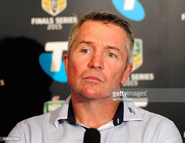 Cowboys coach Paul Green looks on at the post match media conference at the end of during the Second NRL Semi Final match between the North...