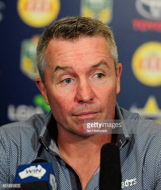 Cowboys coach Paul Green looks on at the post match media conference at the end of during the round seven NRL match between the North Queensland...