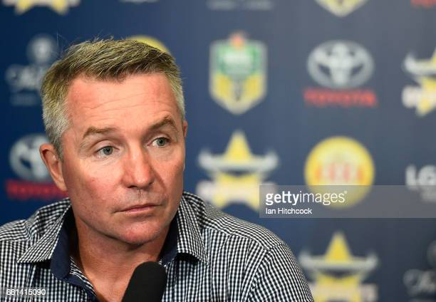 Cowboys coach Paul Green looks on at the post match media conference at the end of during the round five NRL match between the North Queensland...