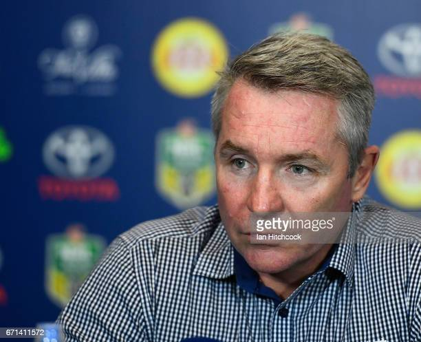 Cowboys coach Paul Green looks on at the post match media conference at the end of during the round eight NRL match between the North Queensland...