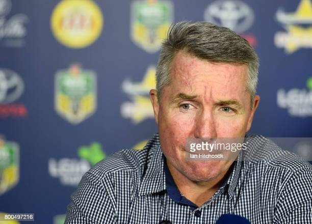 Cowboys coach Paul Green looks on at the post match media conference at the end of during the round 16 NRL match between the North Queensland Cowboys...