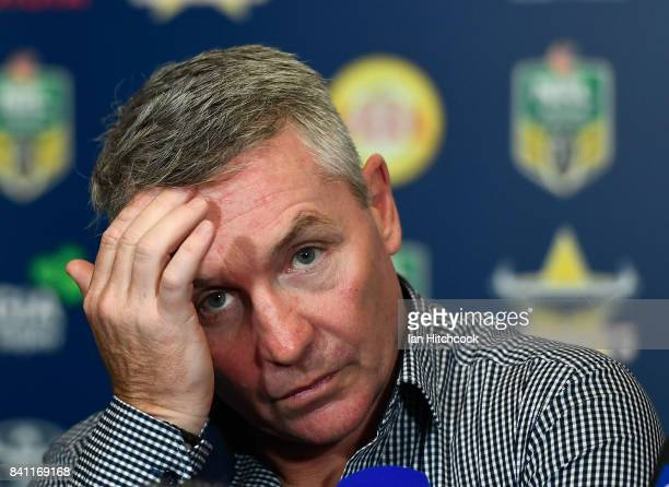 Cowboys coach Paul Green looks on at the post match media conference at the end of the round 26 NRL match between the North Queensland Cowboys and...