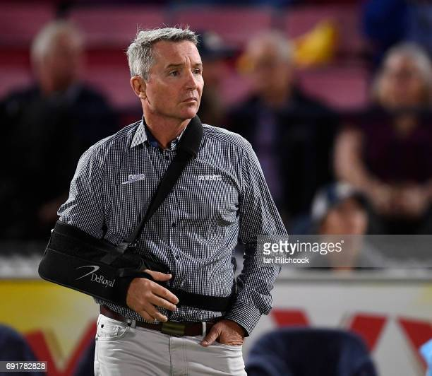Cowboys coach Paul Green looks on from the sideline before the start of the round 13 NRL match between the North Queensland Cowboys and the Gold...