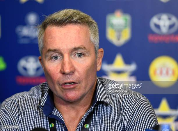 Cowboys coach Paul Green speaks at the post match media conference at the end of during the round one NRL match between the North Queensland Cowboys...