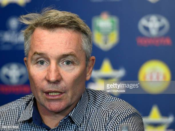 Cowboys coach Paul Green speaks at the post match media conference at the end of the round 13 NRL match between the North Queensland Cowboys and the...