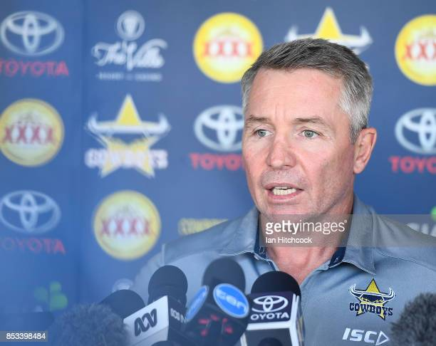 Cowboys coach Paul Green speaks to the media during a North Queensland Cowboys NRL media opportunity at Cowboys HQ on September 25 2017 in Townsville...