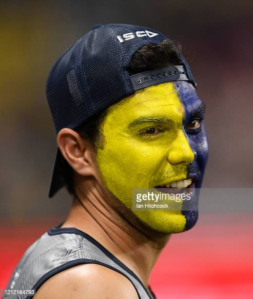 Cowboys fan looks on during the round 1 NRL match between the North Queensland Cowboys and the Brisbane Broncos at Queensland Country Bank Stadium on...