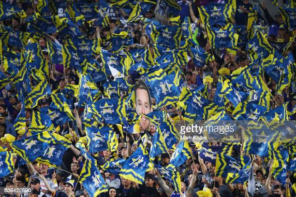 Cowboys fans show their support during the 2017 NRL Grand Final match between the Melbourne Storm and the North Queensland Cowboys at ANZ Stadium on...