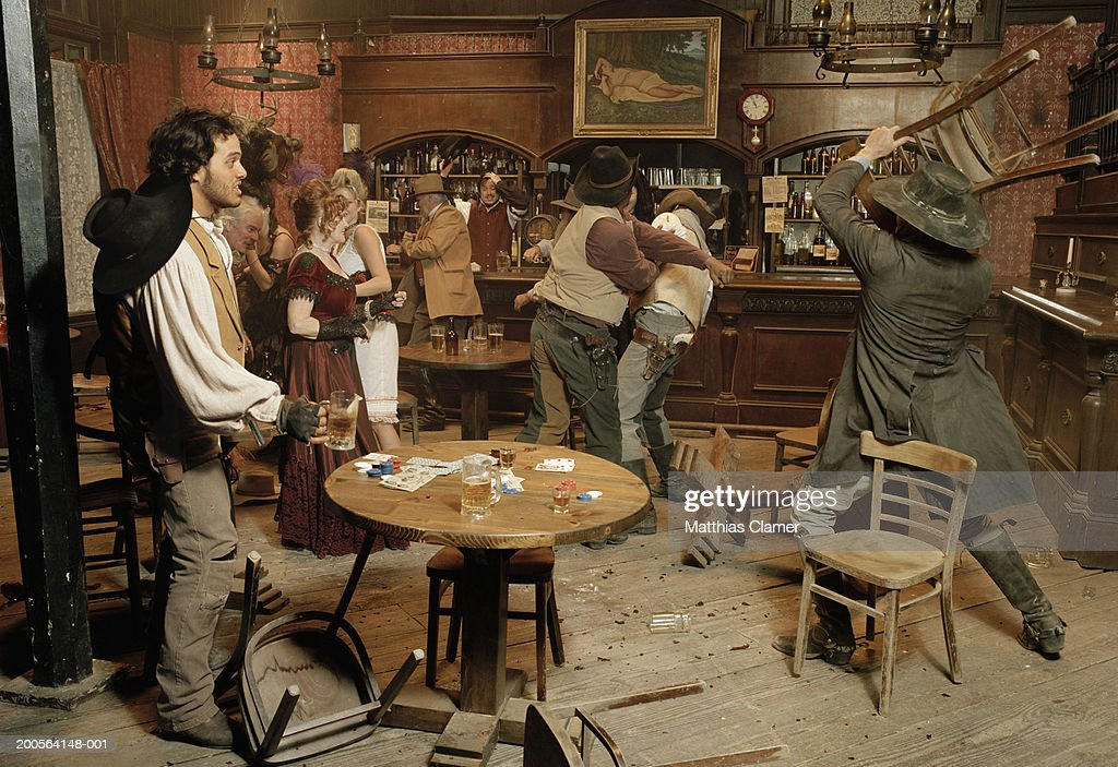 cowboys fighting in saloon photo getty images. Black Bedroom Furniture Sets. Home Design Ideas