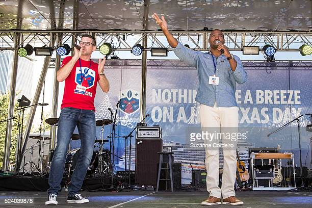 Cowboys legend Darren Woodson and Carnival Cruise Director Butch Begovich warm up the crowd at Carnival's Ultimate Cowboys Fan Fest on October 18...