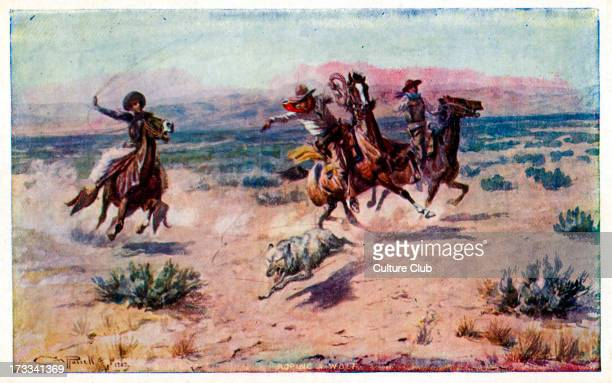 Cowboys on horseback roping a wolf Painted by CM Russell 1902 Published by Ridgley Calendar Co Montana