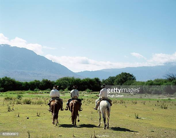 cowboys on horses near cafayete, salta, argentina - hugh sitton stock pictures, royalty-free photos & images