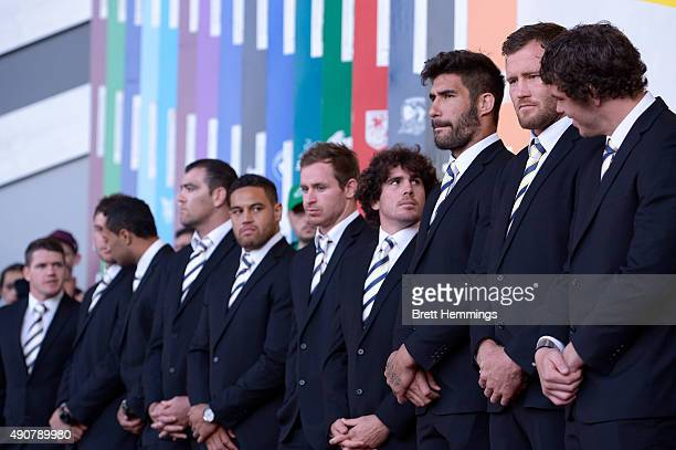 Cowboys players look on during the launch of NRL Nation at Darling Harbour on October 1 2015 in Sydney Australia