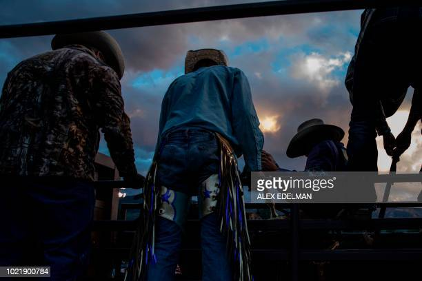 TOPSHOT Cowboys prepare for the bucking bronco event at the Snowmass Rodeo on August 22 in Snowmass Colorado The Snowmass rodeo is on its 45th year...