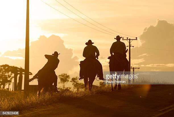 Cowboys ride their horses in a road near Alta Floresta Brazil | Location near Alta Floresta Brazil